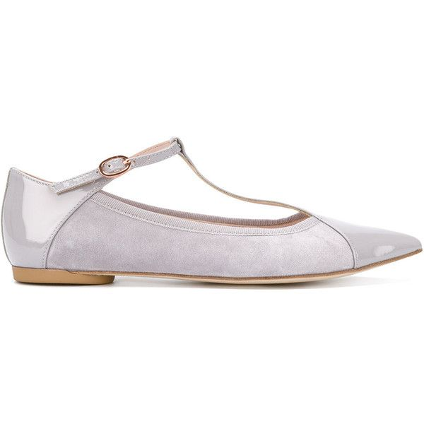 Repetto T-bar pointed ballerinas ($237) ❤ liked on Polyvore featuring shoes, flats, grey, ballet shoes, ballerina flats, leather ballet shoes, pointed-toe flats and leather ballet flats