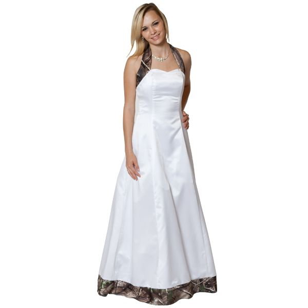 Realtree Camo Accented Halter Wedding Gown Side Image