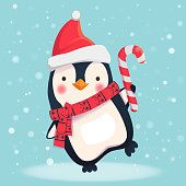 penguin with christmas candy