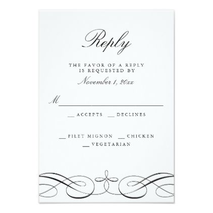 4688 best wedding invitations modern images on pinterest couples elegant black white wedding reply card stopboris Images