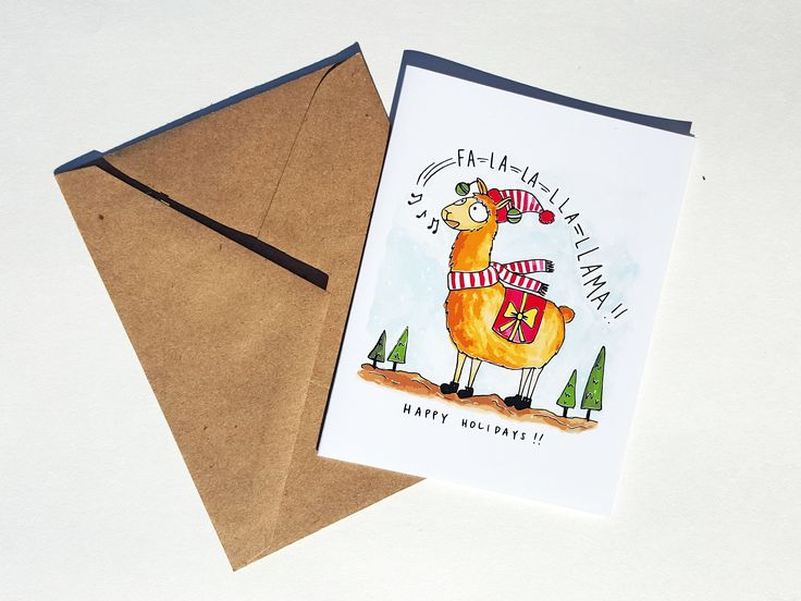 FA LA LLAMA - Card - Christmas Card - Cute Simple Pun Funny Love Handmade - For Him/Her, Friend, Just Because, Holiday, Greeting, Work by THEBRANCHANDTHEVINE on Etsy
