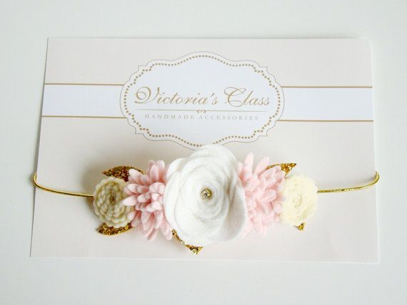 Baby Felt Flower Crown, Newborn Flower Crown, Infant Floral Crown, Newborn…