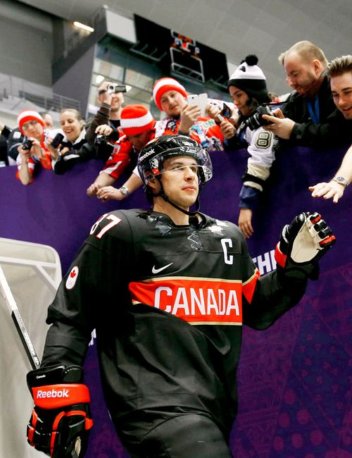 SIdney Crosby, looking like a boss is those fantastic black jerseys for Team Canada.  I hope they wear them tomorrow!