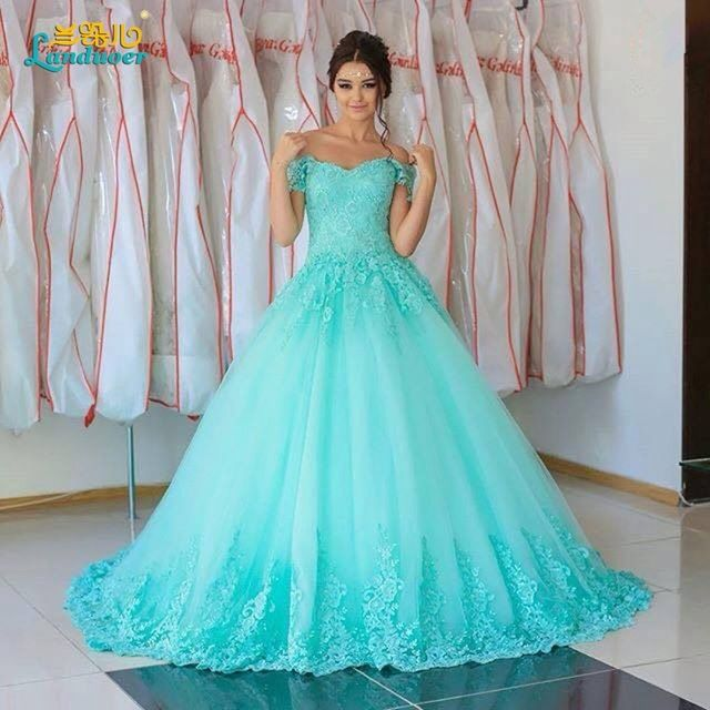 Réel photo bleu clair robes de mariée 2017 robe de bal Arabie Saoudite dentelle robes de mariée robes de noiva robes de mariée plus la taille