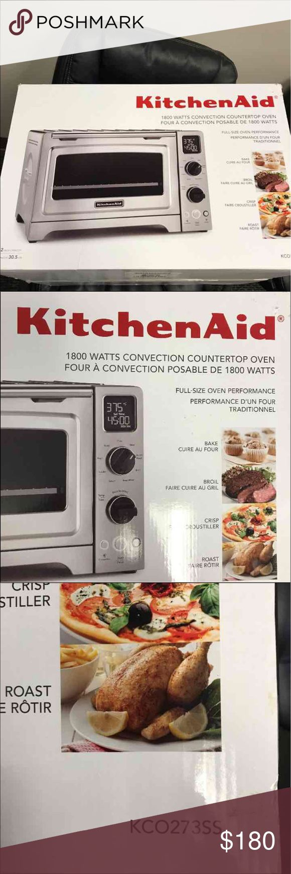KitchenAid 1800 watts convection countertop oven. Brand new KitchenAid 1800 watts convection countertop oven. Never been used or opened. Retail price is 250.00. Model number is KCO273SS. Other