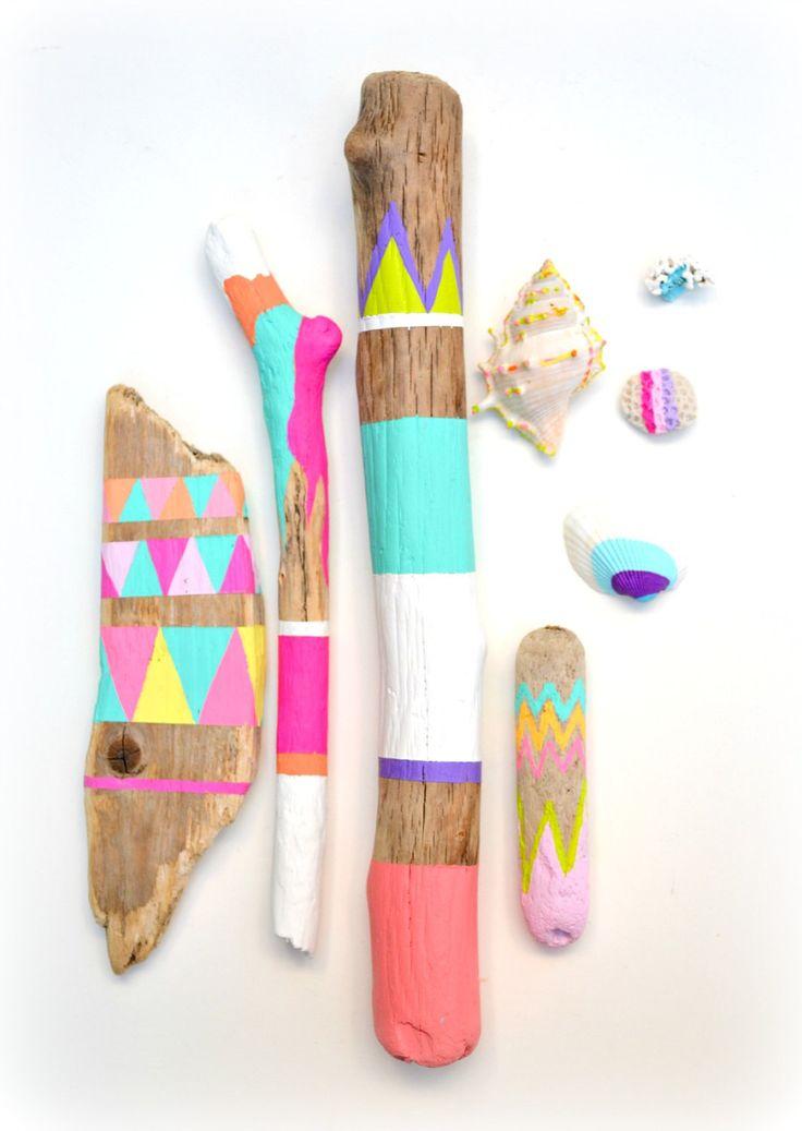 Sticks and Shells Collection - Driftwood Art, Tribal Geometric - Neon, Pastel, Dorm Decor via Etsy.