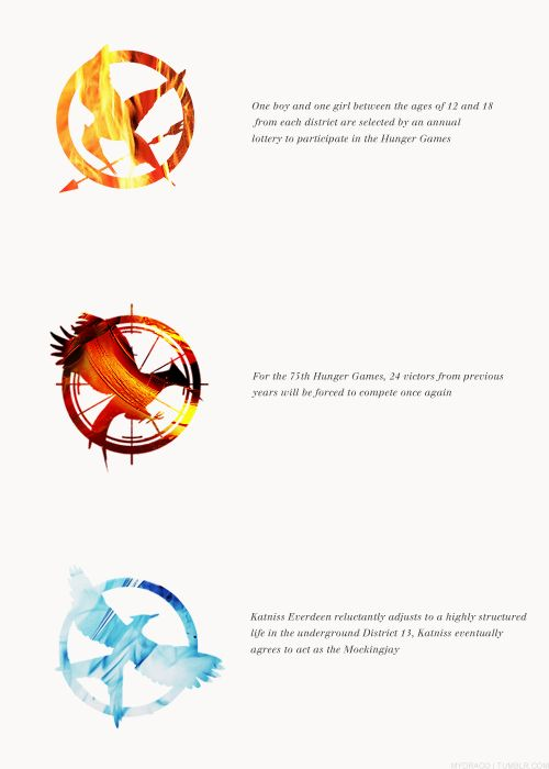 Notice in the 2nd and 3rd book's birds, the bird in Catching Fire is getting ready to take flight, and the bird in the last one is taking flight.