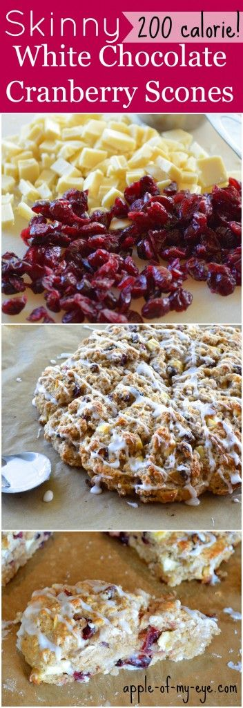 Skinny White Chocolate Cranberry Scones with less than 200 calories each!
