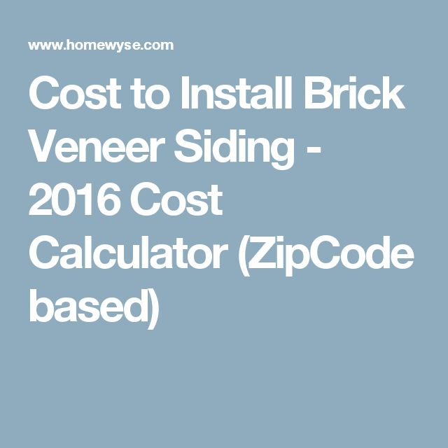 Cost To Install Brick Veneer Siding