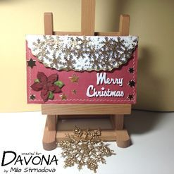 Darovací vánoční obálka se zlatými vločkami