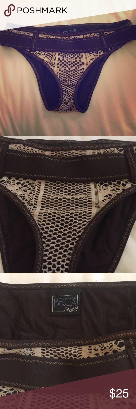 Bikini Bottom Becca Becca swim suite bikin bottom . Brown with beige netting ! Awesome fit barely worn. High end quality brand Becca Swim Swim Bikinis