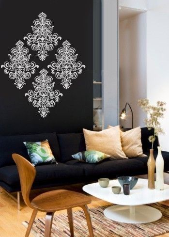 Damask-would love in pink or yellow on a gray wall