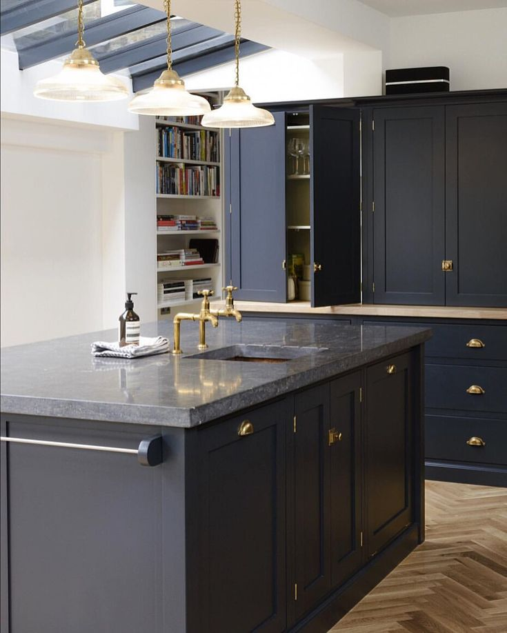 "363 Likes, 5 Comments - deVOL Kitchens (@devolkitchens) on Instagram: ""These dark Belgian blue limestone worktops look so cool with our Pantry Blue cabinets. We will…"""