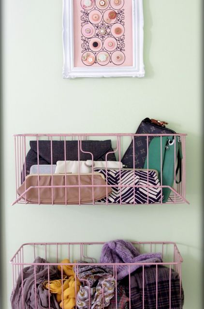 """Screw wire baskets to your closet door (or a wall) and they become cute catchalls for scarves, tights and clutches."""""""