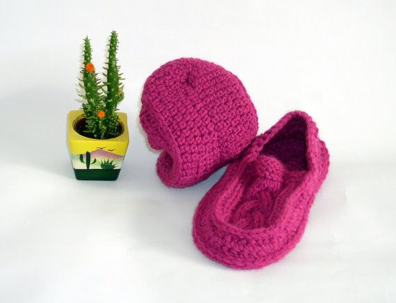 Knit Crochet Socks/Slippers in Neon Pink with Irish Traditional Aran Knitting Cables Motifs, Hand Knitted Women Home Shoes