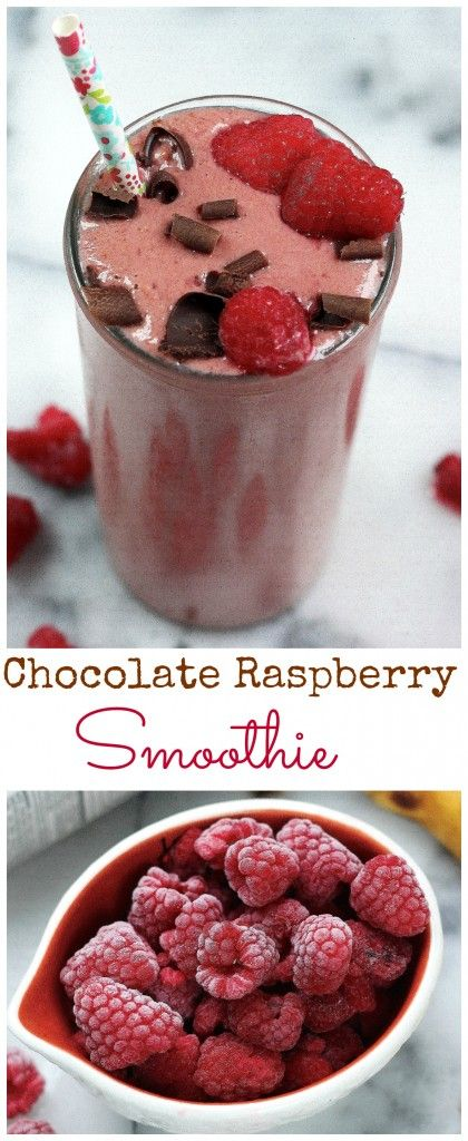 4 Ingredient Chocolate Raspberry Smoothie (Skinny, Vegan, Gluten Free)