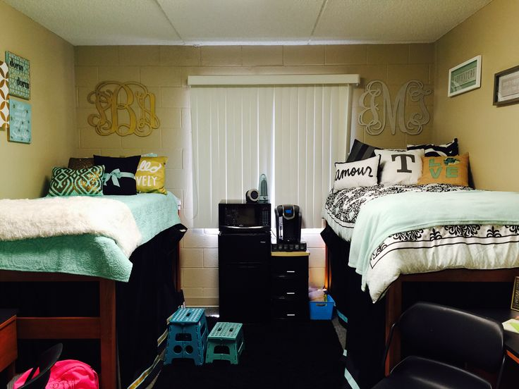 USF Maple Dorm Room  decor in mostly mint gold black