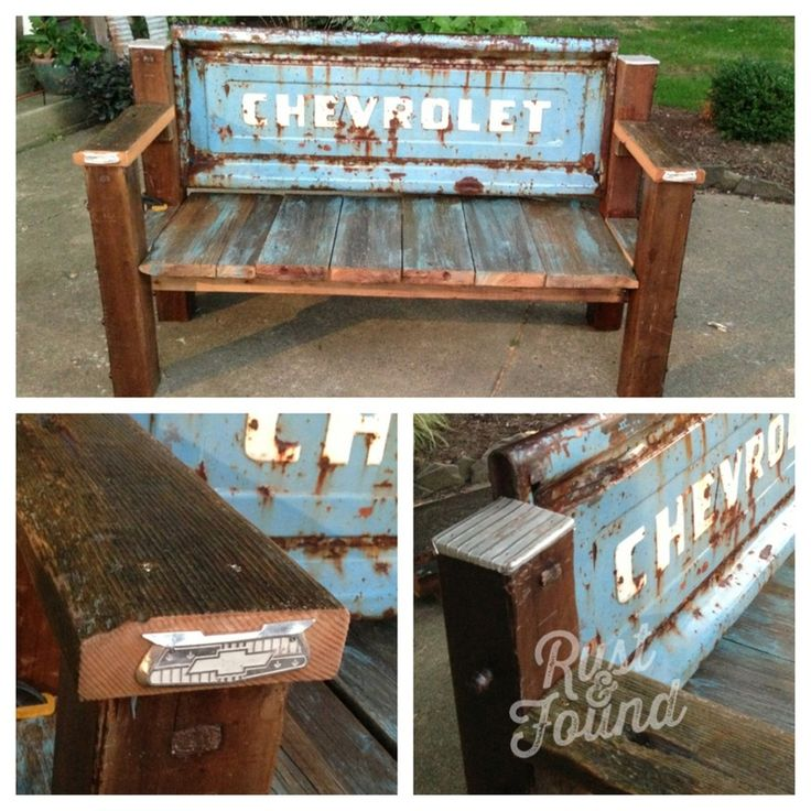 Perfectly patina on a tail gate bench! All reclaimed lumber.