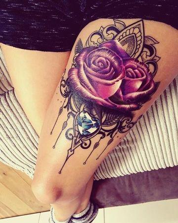 tatuajes de rosas en las piernas super bonitos