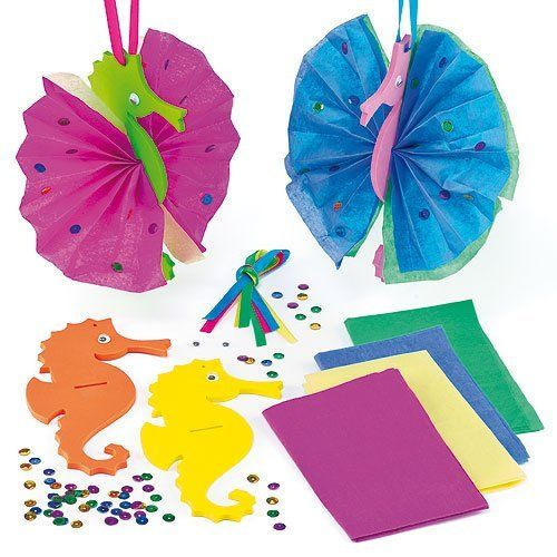 We'd like to meet these under the sea! 3D crinkle seahorse decorations for kids to create
