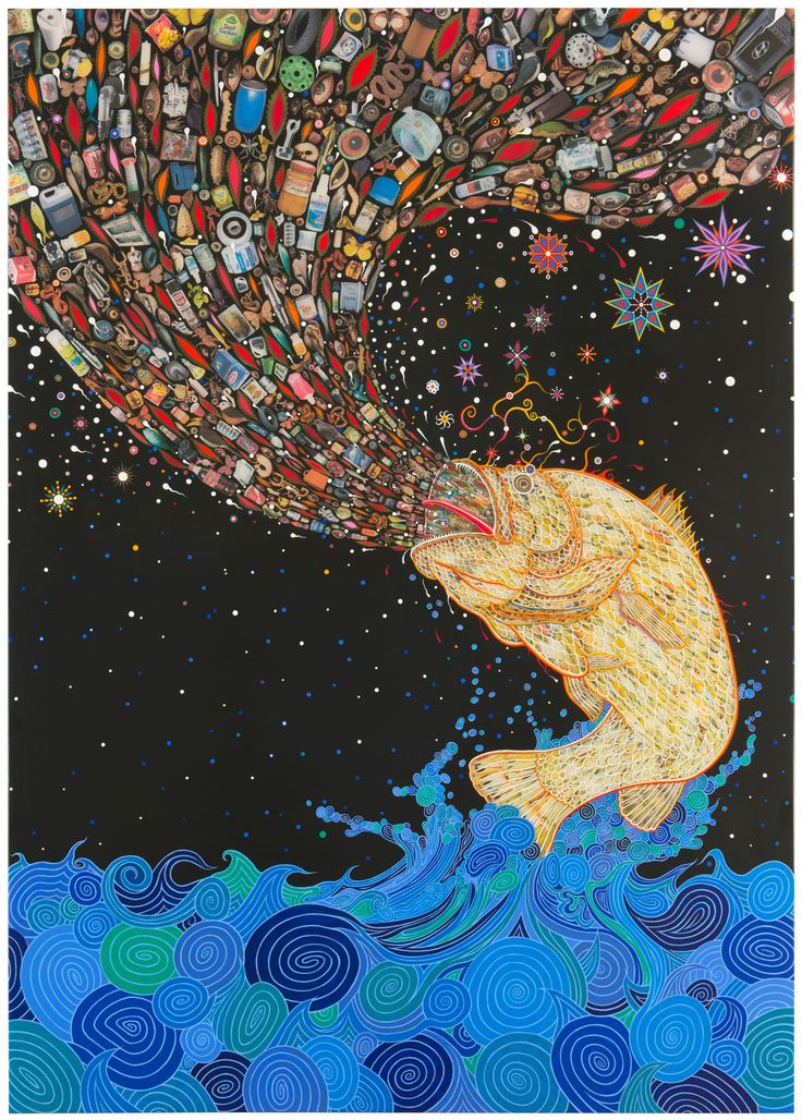 """""""Penetrators,"""" 2012 by Fred Tomaselli. Courtesy of the artist and James Cohan Gallery"""