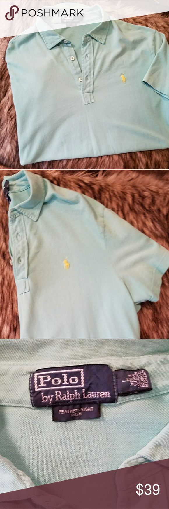Ralph Lauren Men's Polo Shirt Large Polo by Ralph Lauren featherweight mesh polo shirt. Size men's large. Color seafoam green with yellow Polo logo. This comes from a smoke-free pet-free home. Feel free to ask questions. Excellent condition. No stains rips or tears. Ralph Lauren Shirts Polos