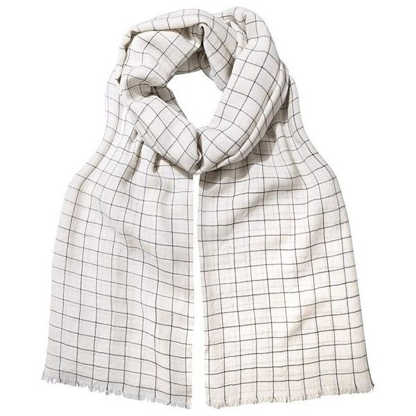 Ivory Cacia Grid Scarf | Oliver Bonas ($45) ❤ liked on Polyvore featuring accessories, scarves and ivory shawl
