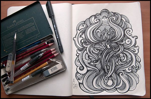I really enjoy Irina Vinnik's sketchbook pages. I used to draw things like this a lot - kind of wish I still did!
