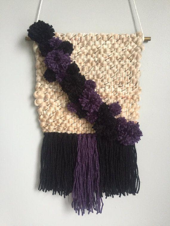 Pom Pom Weaving // Plum Black Tan by TheLittleWovenShop on Etsy