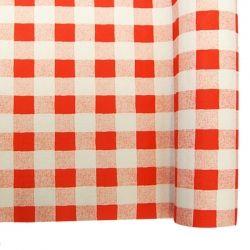 Mantel de papel damasco vichy rojo y blanco rollo de 1.20x25 m