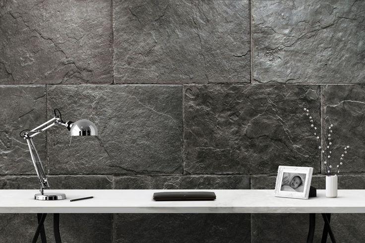 Mejores 89 im genes de revestimientos aspecto piedra - Revestimiento paredes interiores pizarra ...