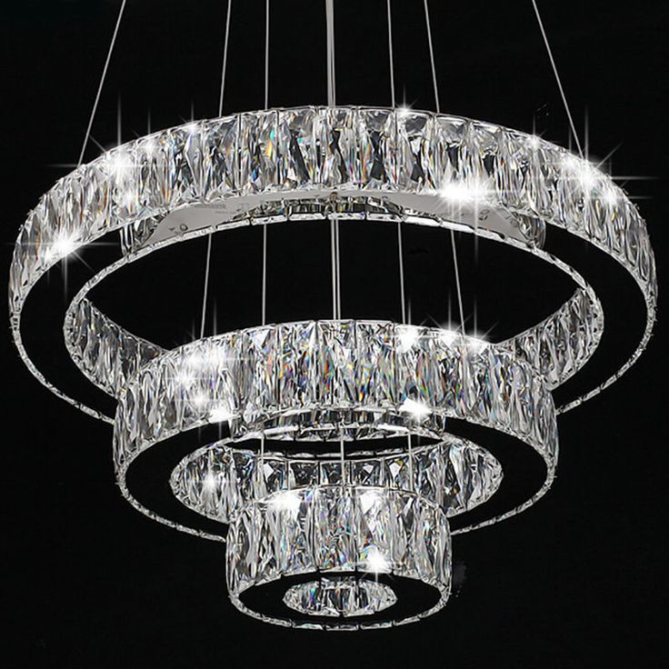 Modern Crystal Round Ring Led Pendant Lamp Ceiling Lights