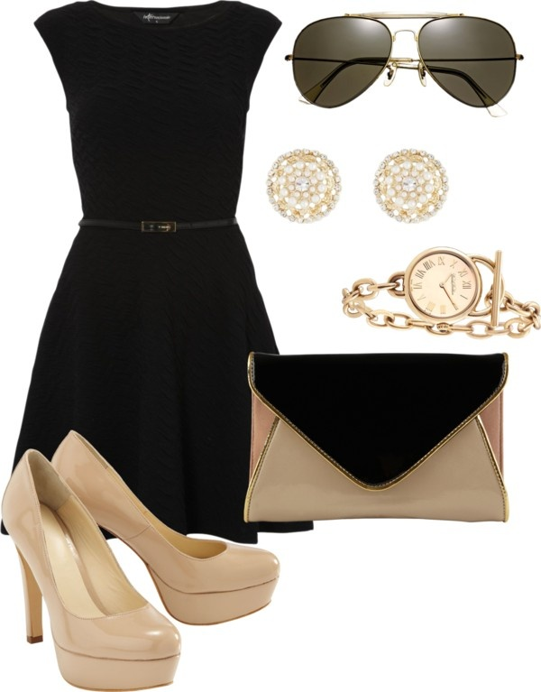 """black and gold."" Just wore similar outfit! I have the same shoes! Love them"
