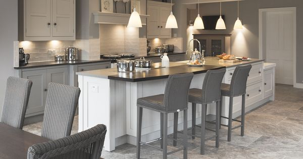 A bespoke shaker kitchen designed by Cheshire Furniture Company, featuring AGA, hand painted bespoke cabinetry, island unit with sink & induction h… | Pinteres…