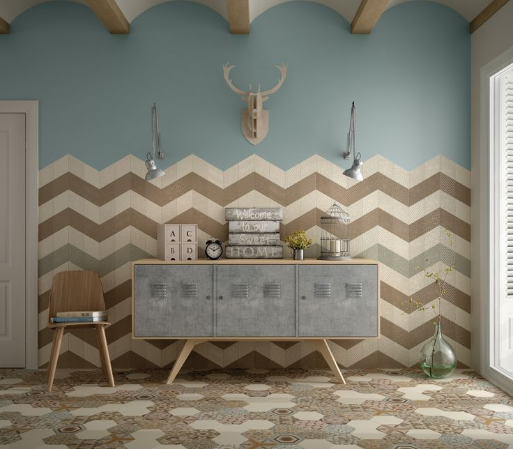Rhombus Cream, Taupe, Green (pared), Hexatile Cream Mate, Harmony Colours (suelo) nais.es