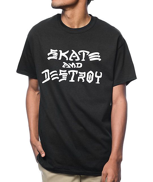 "Grab an iconic look to add to your outfits for a major upgrade with the Thrasher Skate And Destroy t-shirt. A versatile black colorway boasts a classic white ""Skate And Destroy"" Thrasher text logo graphic screen printed on the chest plus a durable cotton"