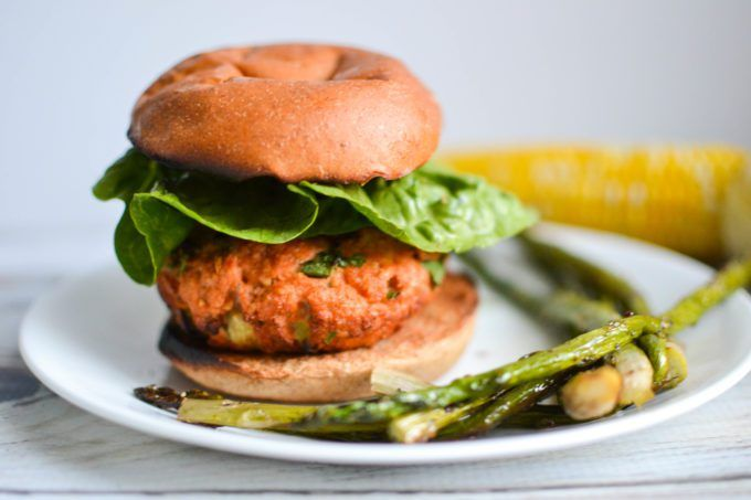 Harissa Spiced Healthy Salmon Burgers
