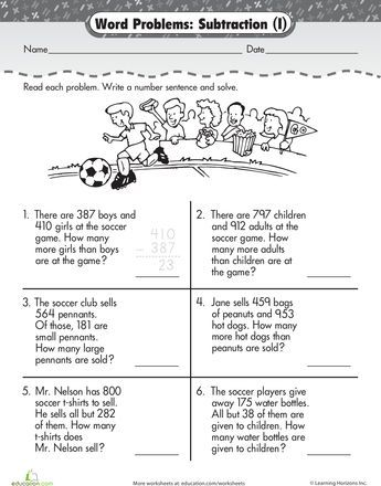 Word Problem Fun 3 Digit Subtraction At The Game Worksheet Education Com Subtraction Word Problems Word Problem Fun Addition Word Problems