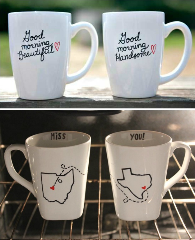 DIY mugs :) Super cute ldr idea *click for an article on how to get the best results!* Having just made these I must warn you those pink/red hearts turn dark purple after baking. People are not posting the finished product. I wish I had been prepared!