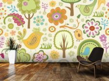 Birds and Forest mural wallpaper