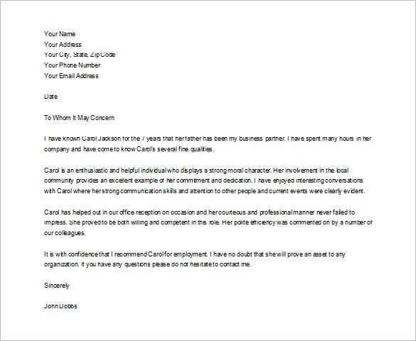 Character Reference Letter For A Friend  5 Samples of