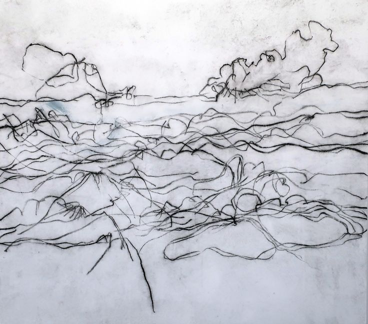 Paris-based Italian artist Beatrice Caracciolo's 'Tramontana' refers in its title to a cold north wind, which appears to cause a landscape to hunker down in this expressive ink on paper artwork. (On view at Paula Cooper Gallery in Chelsea through Feb 3rd). Beatrice Caracciolo, Tramontana, water soluble ink on paper, 58 x 65 x 1 inches, 2017.