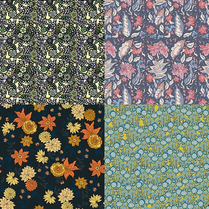 60's Boho inspired Patternbank Studio Designs by Ruth Duncan, Ellys Beale, Oslo Prints, Holly Cooper.