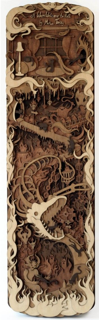 Stories Told in Martin Tomsky's Fantastically Detailed Wooden Laser-Cuts