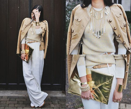 White, Camel and Gold (by Elizabeth Jin) http://lookbook.nu/look/4299933-White-Camel-and-Gold