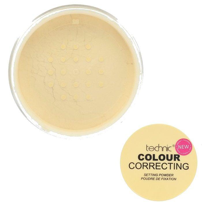 Η Yellow Colour Correcting Setting Powder της Technic, σε κίτρινη απόχρωση, βοηθάει στη διόρθωση των δυσχρωμιών της επιδερμίδας. Εξισορροπεί τις κοκκινίλες και τους ροζ υποτόνους της επιδερμίδας και ουδετεροποιεί τους μαύρους κύκλους στην περιοχή των ματιών. Επίσης, προσφέρει ματ τελείωμα στο