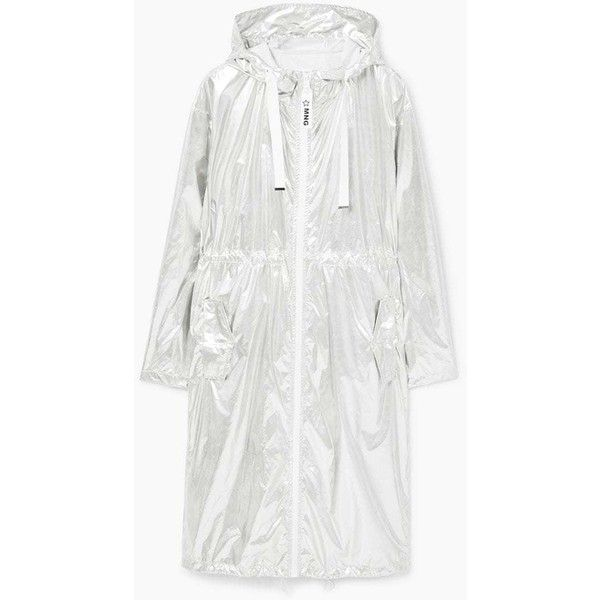 Light Metallic Parka (5.165 RUB) via Polyvore featuring outerwear, coats, metal coat, mango coats, white coat, metallic coat и white parka