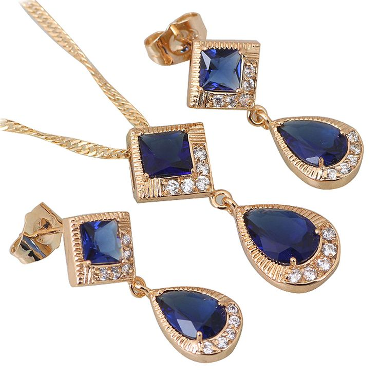 Find More Jewelry Sets Information about Lovely Sapphire deep blue zircon stones jewelry Sets Pendants/Earring 18K Yellow Gold Plated colares femininos S184,High Quality jewelry boxes. gift,China jewelry mens Suppliers, Cheap jewelry velvet from Dana Jewelry Co., Ltd. on Aliexpress.com