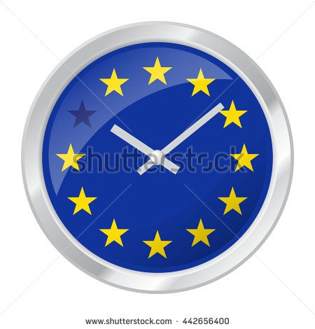 Vector illustration of clock face with EU flag and one star muted symbolizing BREXIT, isolated on white EPS 10