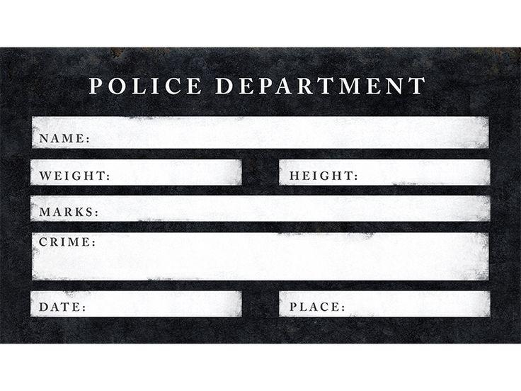 Tabliczka do zdjęć Aresztowanie, z wolnymi rubrykami do uzupełnienia.